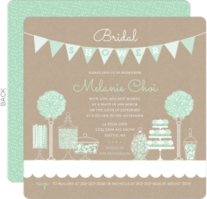 mint kraft candy bridal shower invitation