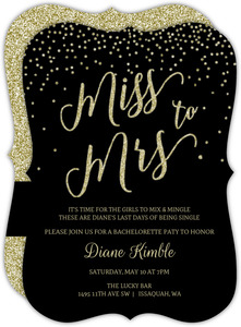 Miss To Mrs Gold Glitter Bachelorette Party Invitation