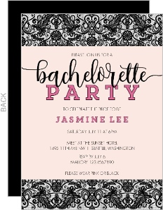 Pink and Black Lace Bachelorette Party Invitation