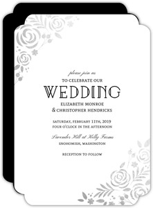 Floral Silver Foil Wedding Invitation