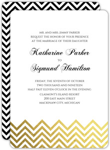 Gold Foil Chevron Wedding Invitation