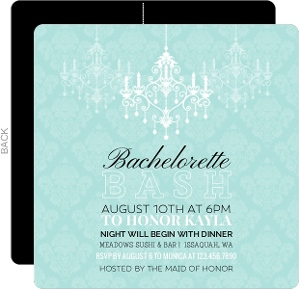 Fancy Chandelier and Damask Bachelorette Party Invitation