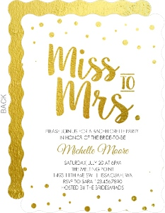Gold Foil Miss To Mrs Bachelorette Party Invitation