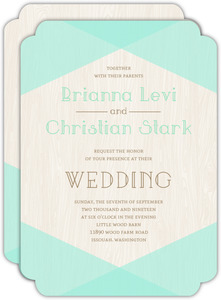 Rustic Woodgrain & Mint Wedding Invitation