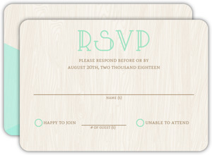 Rustic Woodgrain & Mint Wedding Response Card