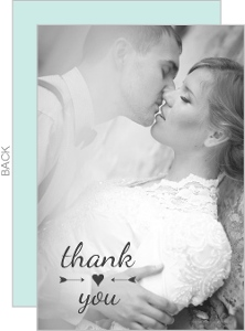 Simple Heart & Arrow Wedding Thank You Card