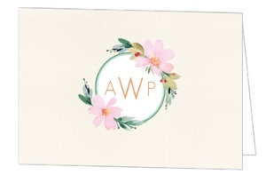 Pink Watercolor Flower Wedding Thank You Card
