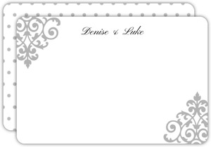 Fancy Corner Decor Wedding Thank You Card