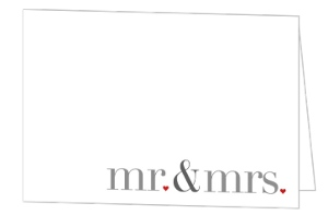 Mr and Mrs Heart Wedding Thank You Card