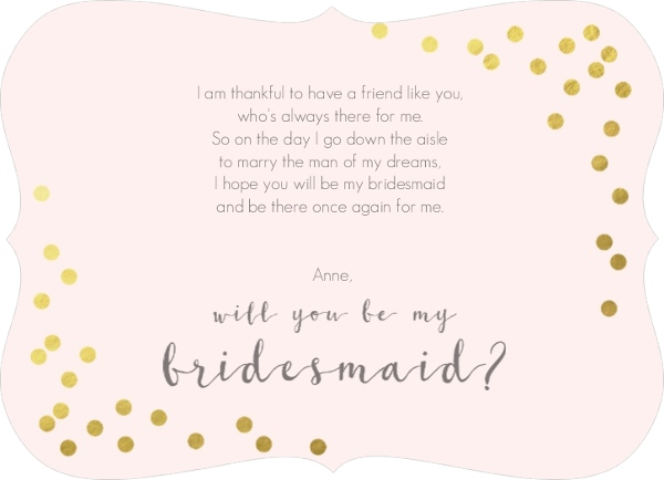 Faux Foil Confetti Will You Be My Bridesmaid Card Will You Be My