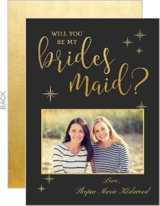 Elegant Golden Will You Be My Bridesmaid Card