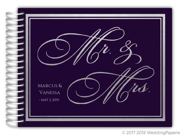 purple and faux silver foil wedding guest book wedding guest books