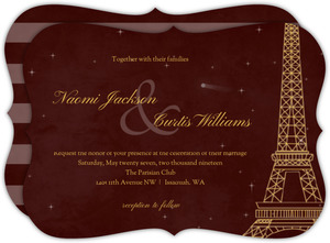 Whimsical Paris Burgundy Wedding Invitation