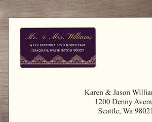 Elegant Purple & Gold Address Label