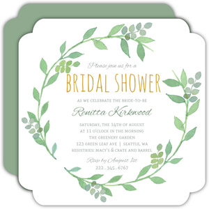 Green Watercolor Wreath Bridal Shower Invitation
