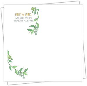 Green Watercolor Wreath Custom Envelope