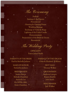 Whimsical Paris Burgundy Wedding Program