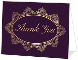 Elegant Purple & Gold Thank You Card