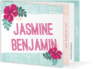 Hawaiian Floral Pattern Destination Wedding Booklet Invitation