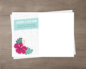 Hawaiian Floral Pattern Wedding Custom Envelope