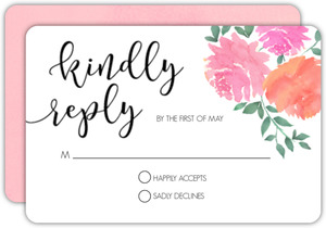 Pink Watercolor Flowers Wedding Response Card