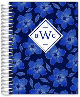 Navy Blue Watercolor Floral Pattern Wedding Planner