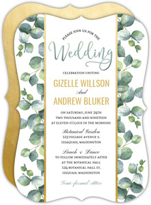 Greenery Watercolor Leaves Wedding Invitation
