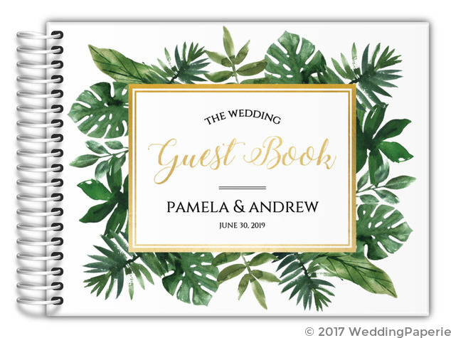 Faux Gold Foil Greenery Frame Wedding Guest Book   Wedding Guest Books