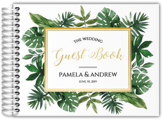 Faux Gold Foil Greenery Frame Wedding Guest Book