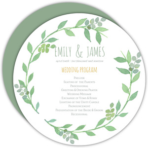 Green Watercolor Wreath Wedding Program