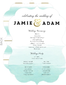 Teal Brushstroke Wedding Program