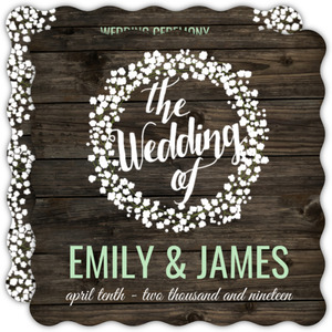 Rustic Wood Baby's Breath Wedding Program
