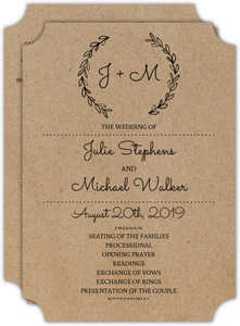 Chalk Wreath Wedding Program