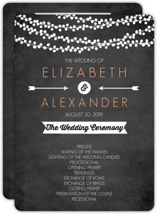 String Lights and Chalk Wedding Program
