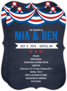 Patriotic Flag Chalkboard Fourth of July Wedding Program