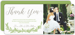 Delicate Foliage Decor Wedding Thank You Card