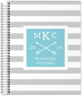 Gray Modern Stripe Wedding Journal