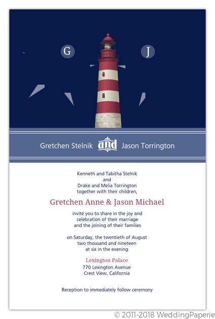 Cape Cod Lighthouse Wedding Invitation Wedding Invitations