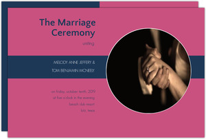 Pink and Navy Striped Wedding Program