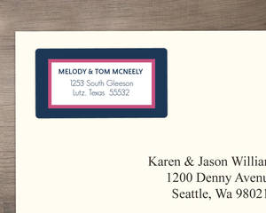 Pink and Navy Striped Address Label