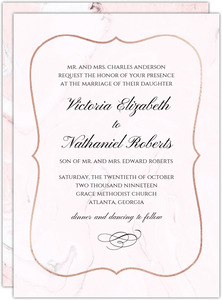Pink and White Rose Blossoms Wedding Invitation