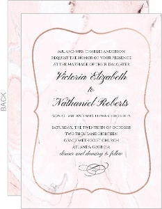 Faux Rose Gold and Blush Marble Wedding Invitation