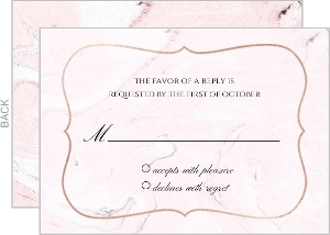 Faux Rose Gold and Blush Marble Wedding Response Card