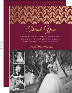 Elegant Cabernet Scallop Gold Foil Thank You Card