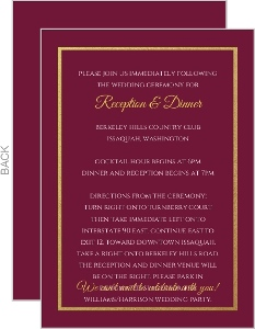 Elegant Cabernet Wedding Enclosure Card
