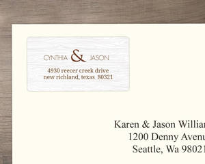 Brown Wood Texture Address Label