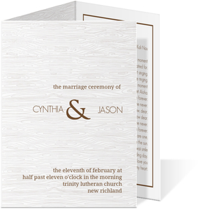 Brown Wood Texture Wedding Program