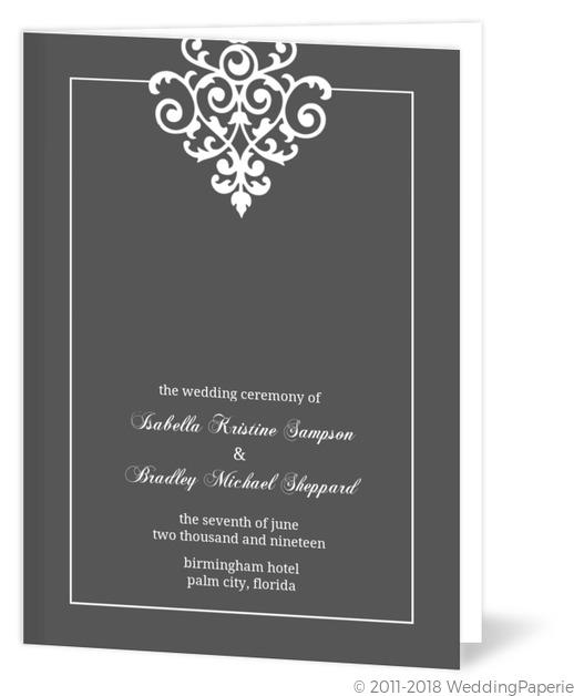gray and elegant white flourish wedding program wedding programs