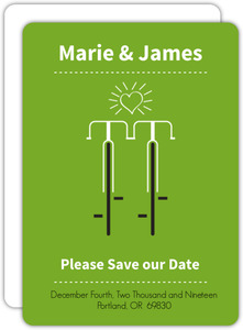 Modern Green Bicycles Save the Date