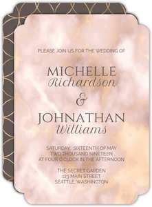 Elegant Gold And Blush Wedding Invitation